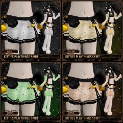 Kitties Playthings Skirt - White, Yellow, Green, Orange