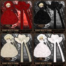 Quaint Rosette Shawl - Fancy Red, Black, Off-White, White