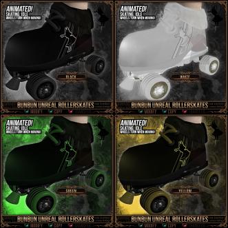 Bunbun Unreal Rollerskates - Black, White, Green, Yellow