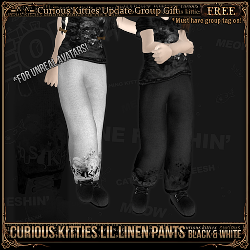 [FREE] Curious Kitties Lil Linen Pants - Black and White