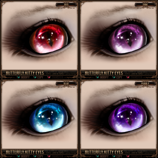 Butterfly Kitty Eyes - Red, Pink, Blue, Purple