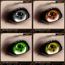 Butterfly Kitty Eyes - Silver, Orange, Green, Yellow