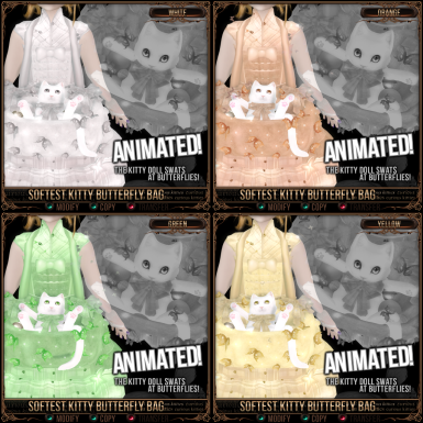 Softest Kitty Butterfly Bag - White, Orange, Green, Yellow