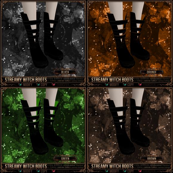 Streamy Witch Boots - Black, Orange, Green, Brown