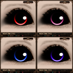 Night Owl Eyes - Red, Pink, Blue, Purple