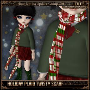 [FREE] Holiday Plaid Twisty Scarf